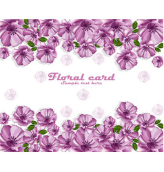 Purple flowers poster card frame delicate vector