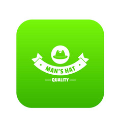 Quality hat icon green vector