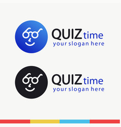 quiz time symbol with smart face vector image