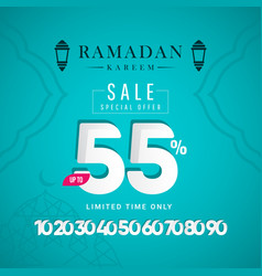 Ramadan kareem discount up to 55 off limited time vector