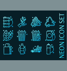 Recycling set icons blue glowing neon style vector