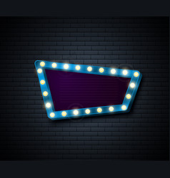 retro sign signboard with shiny lights show vector image