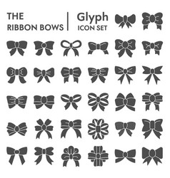 Ribbon bows glyph icon set knot symbols vector