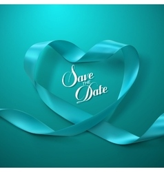 Save date turquoise ribbon heart vector