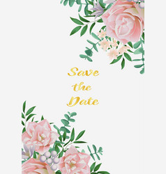 save the date card with pink flowers and greenery vector image