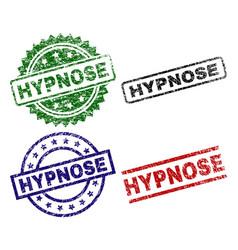 Scratched textured hypnose stamp seals vector
