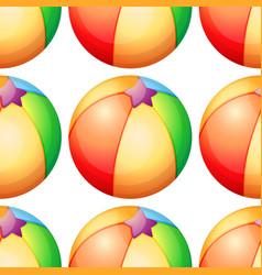 seamless pattern tile cartoon with beachball vector image