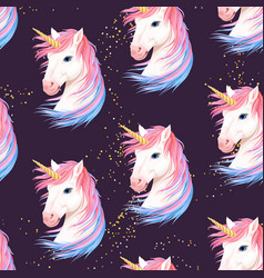 seamless pattern with cute white unicorn vector image