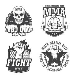 set four mma emblems vector image