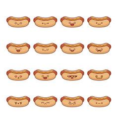 Set fun kawaii hotdog icon cartoons vector