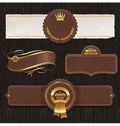 set leather golden framed labels vector image