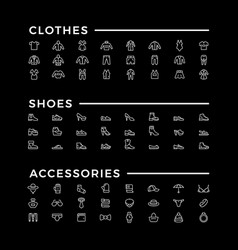 Set line icons of clothes shoes and accessories vector