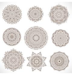 Set mandalas round ornament pattern vector