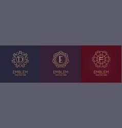 Set three simple and elegant monogram design vector
