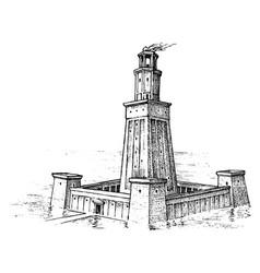 Seven wonders ancient world lighthouse vector