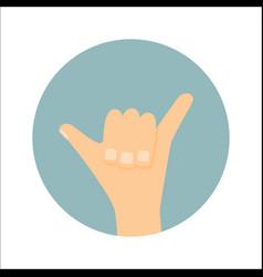 Shaka hand sign surfing icon vector