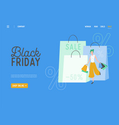 shopping black friday online sale vector image