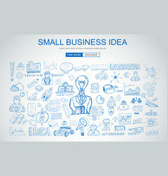 Small business idea concept with business doodle vector