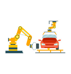 Smart robotic automotive assembly line vector