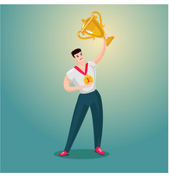 Sportsman is holding a golden cup cartoon vector