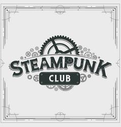 steampunk club logo design victorian cogwheels vector image