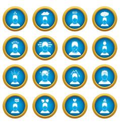 stress icons blue circle set vector image