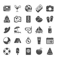 Summer pictogram icons sea beach umbrella pool vector