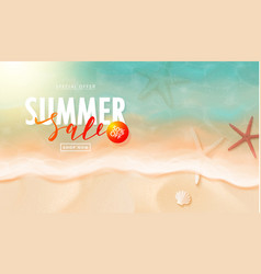 summer sale card with starfish sea water and sand vector image