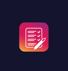 Survey test exam icon vector