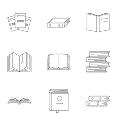 Tome icons set outline style vector