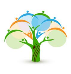Tree unity family people logo vector