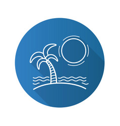 tropical island with sun waves and palm tree flat vector image