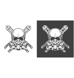 Vintage monochrome skull with respirator and bolt vector