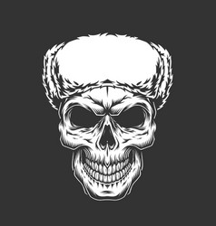 Vintage skull in russian ushanka hat vector