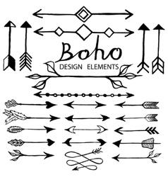 Boho doodle design elements vector image vector image