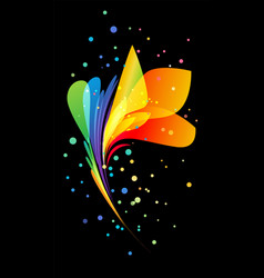 bright beautiful decorative flower on black vector image vector image