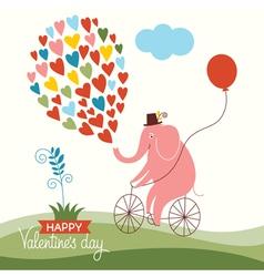 Cute elephant on a bike Valentine card vector image