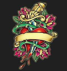 heart and dagger tattoo illust vector image