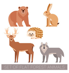 set of flat forest animals vector image