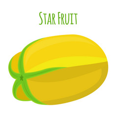 carambola star fruit cartoon flat style vector image vector image