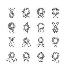 rosette banner thin line icons award vector image