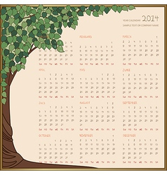 tree frame calendar 1 page 2014 vector image