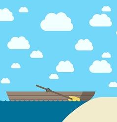 Wooden boat near coast vector image