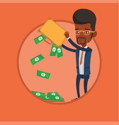 businessman shaking out money from his briefcase vector image