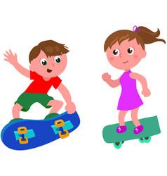cartoon skateboarders isolated vector image vector image