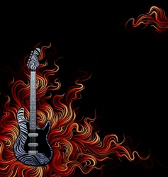 guitar on fire vector image vector image