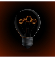 Lightbulb with gear sign on a dark background vector image