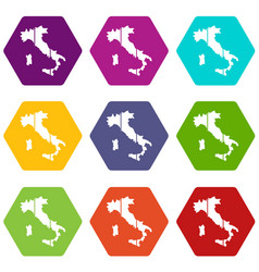 map of italy icon set color hexahedron vector image