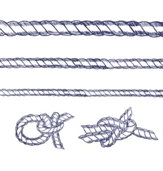 Sea Knot Rope Set Hand Draw Sketch vector image vector image