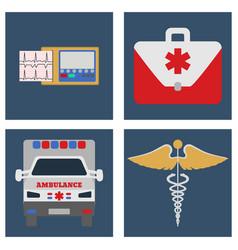 ambulance car ecg medical bag and sign icon vector image